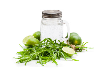 Ingredients  for lemonade with tarragon and lime isolated on white