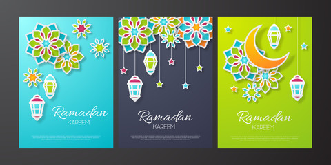Set of Ramadan kareem banner. Paper cut flowers, traditional lanterns, moon and stars. Vector illustration.