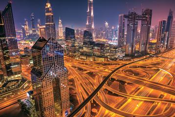 Fototapete - Dubai sunrise panoramic view of Burj Khalifa