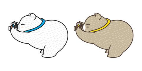 bear vector polar bear cartoon character panda logo icon camera illustration
