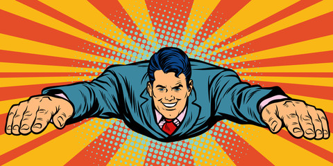 Joyful businessman flying, superhero
