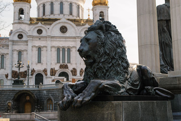 Lion sculpture in Moscow, Russia