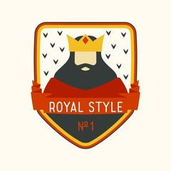 Royal label with cartoon king with beard and crown