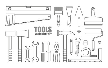 Vector set of line building tools on white background.
