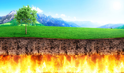 Religion concept. Slice of ground bark separate hell and paradise. Concept of global warming.