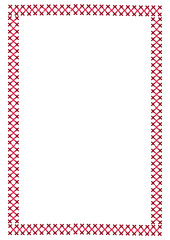 Cute background border frame with embroidered cross-stitch vecto