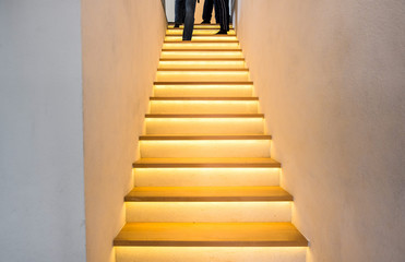 wooden staircase with led light