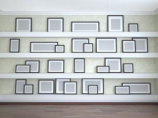 different frame sizes on the shelves. 3d illustration