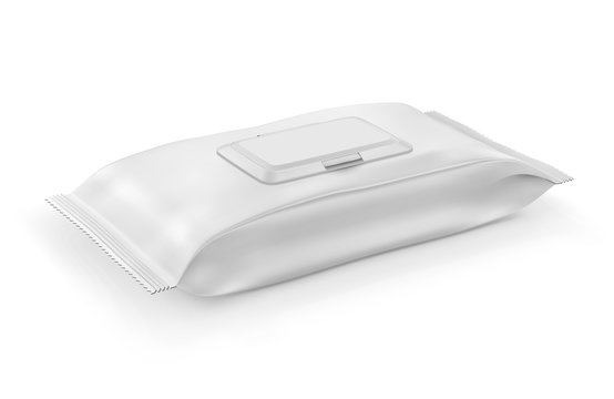 White wet wipes package with flap
