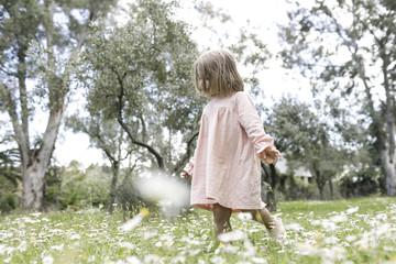 Little girl walking on flower meadow