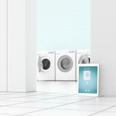 Tablet in laundry room, 3d rendering