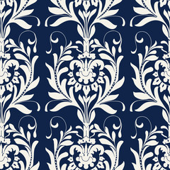 Seamless indigo dye floral block printed ethnic pattern. Vector ornament, traditional Russian motif with acanthus leaves, ecru on navy blue background. Textile, wallpaper print. - 206477188