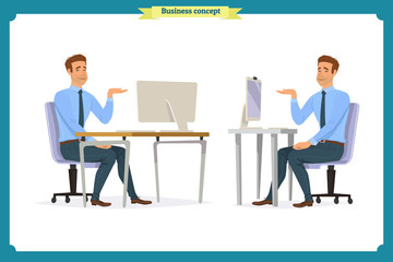 Male office worker poses sitting at computer with tablet having coffee brake cartoon characters set vector illustration