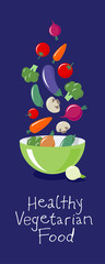 Vegetables flat illustration. Multicolored vegetables fly over a large salad bowl. Vegetarian picture. Healthy organic food. Carrots, beets, cucumber, mushrooms, tomatoes, broccoli, eggplant and onion
