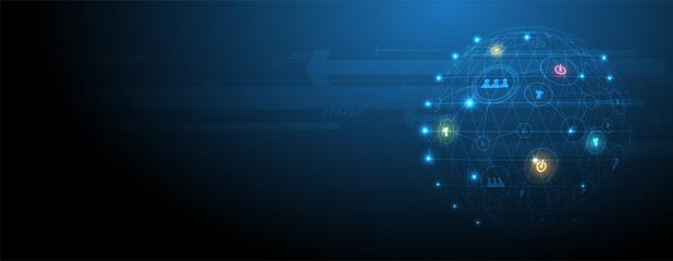 Digital technology world. Business virtual concept. Vector background