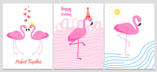 Flamingo or tropical birds illustration for party card. Summer exotic background. Vintage cute banner or spring holiday set.