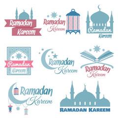 Ramadan Kareem set. Illustration for muslim holy month Ramadhan. Vector