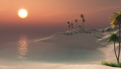 tropical beach with palm trees at sunset, bay at sunrise, lagoon at sunset, 3D rendering
