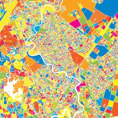 Yangon, Myanmar, colorful vector map