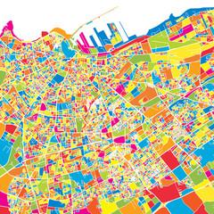 Casablanca, Morocco, colorful vector map