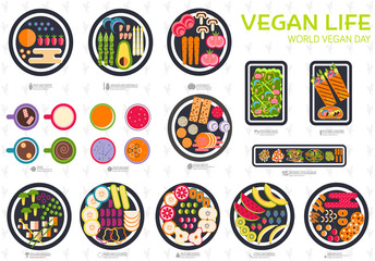 Vegan vector set. Vegetable template of flyear, magazines, posters, book cover, banners. Vegetarian invitation concept background. Layout healthy diet illustrations modern pages