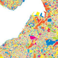 İzmir, Turkey, colorful vector map
