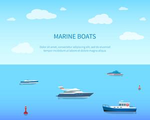 Marine Boats Bright Color Card Vector Illustration