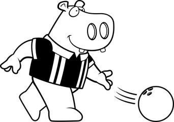 Cartoon Hippo Bowling