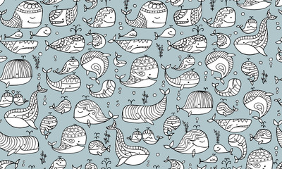 Whales collection, seamless pattern for your design