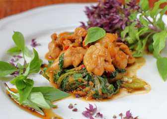 hot spicy chicken with basil thai food