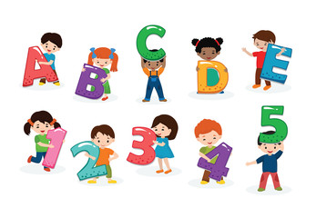 Kids alphabet vector children font and boy or girl character holding alphabetic letter or number illustration alphabetically set of cartoon childish lettering abcde isolated on white background