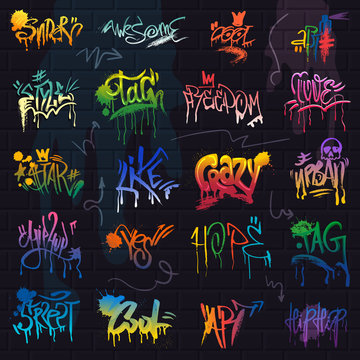 Graffiti vector graffito of brushstroke lettering or graphic grunge typography illustration set of street text with love freedom isolated on brick wall background