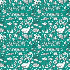 seamless pattern marine inhabitants.