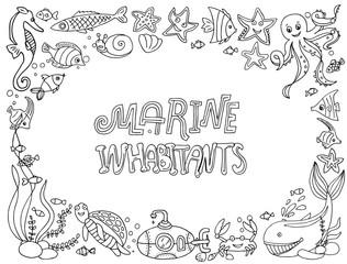 vector illustrations marine inhabitants.