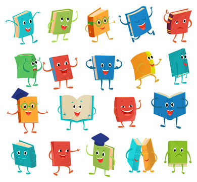 Book character vector cartoon emotion textbook with childish face expression on notebook cover at school illustration educational set of reading kawaii studing isolated on white background