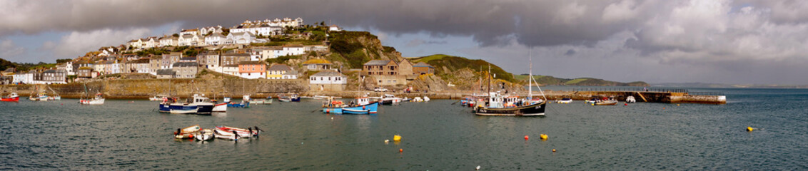 Panoramic view of Mevagiseey harbour entrance, Cornwall