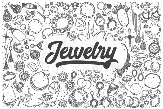 Hand drawn jewelry vector doodle set.