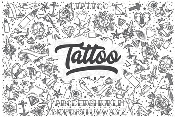 Hand drawn tattoo vector doodle set.