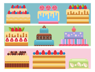 Wedding cake pie sweets cards dessert bakery flat simple style isolated vector illustration.
