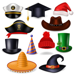 Cartoon hat vector comic cap for celebrating birthday party or Chrisrmas with headwear or head-dress santa hat or pirate illustration set of funny headgear cowboy or witch isolated on white background