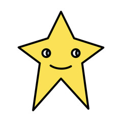 color kawaii happy sparkly star icon