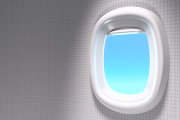 3d rendering close-up shot of white open airplane window with copy space on blue sky background with clipping path.