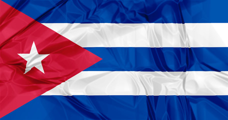 3D waving Cuba flag background red, blue and white colors, Latin America Caribbean