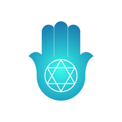 Hamsa. amulet. open hand with a six-pointed star.