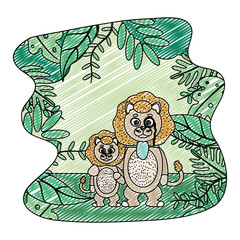 doodle lion animal with eyeglass and his son in the landscape