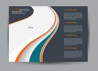 Flyer, brochure, billboard template design landscape orientation for business, education, school, presentation, website. Green, orange, and grey color. Editable vector illustration.