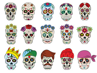 Skull vector mexican flowered dead head and flowering crossbones and human tattoo illustration thick-skulled set of horror symbol of death or evil in Mexico isolated on white background
