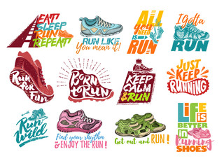 Run lettering on running shoes vector sneakers or trainers with text signs for typography illustration set of runners inscriptions run for fun isolated on white background