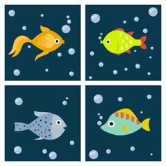 Aquarium ocean fish underwater cards bowl tropical aquatic animals water nature pet characters vector illustration