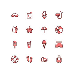 Set of Summer Holidays Beach seas Icons modern simple outline style Vector